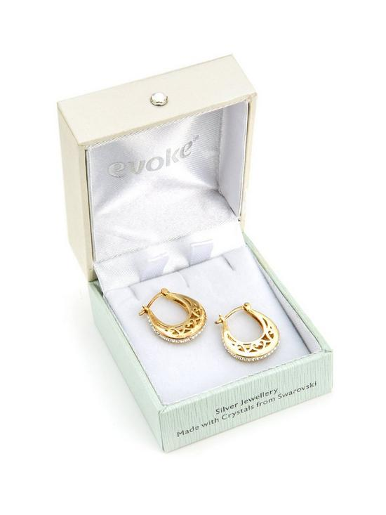 886d3158e ... Evoke Gold Plated Sterling Silver Swarovski Crystal Filigree Hoop  Creole Earrings. View larger