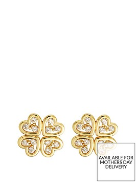 love-gold-9ct-gold-cubic-zirconia-4-leaf-clover-stud-earrings