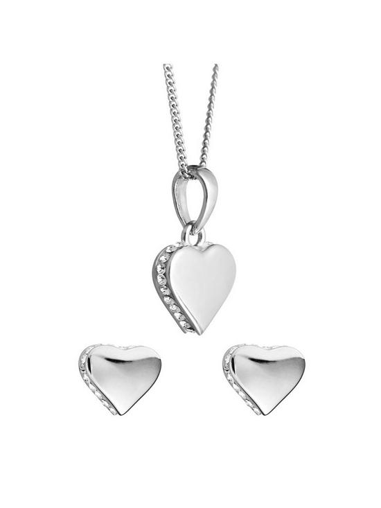 8724274c0 Evoke Sterling Silver Swarovski Crystal Heart Earrings & Necklace Set