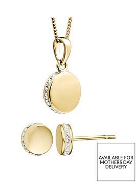 evoke-gold-plated-sterling-silver-swarovski-crystal-round-earrings-necklace-set