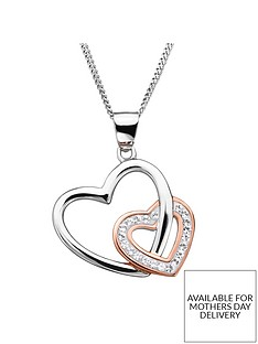 evoke-rose-gold-plated-sterling-silver-swarovski-crystal-interlinked-heart-pendant-necklace