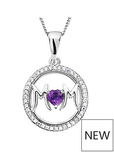 the-love-silver-collection-sterling-silver-cubic-zirconia-amethyst-heart-mum-pendant-necklace