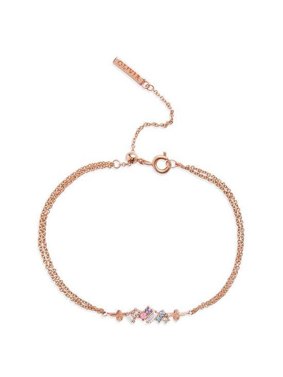 3746837b77d0d Olivia Burton 18kt Rose Gold Plated Rainbow Bee Swarovski Crystal Chain  Bracelet