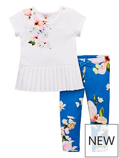 b430ae308068 Baker by Ted Baker Girls Harmony Placement Top And Legging Set - Bright Blue