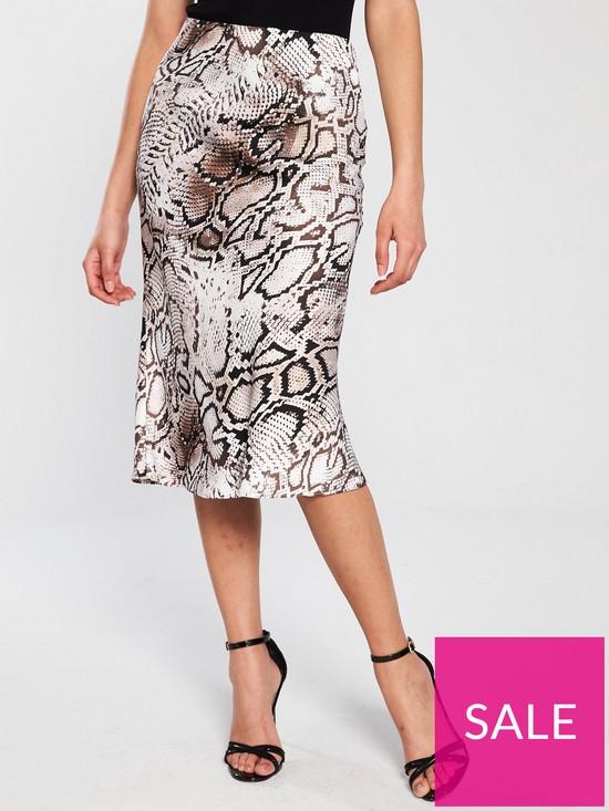 7db4000a84 River Island River Island Satin Midi Skirt - Snake Print | very.co.uk