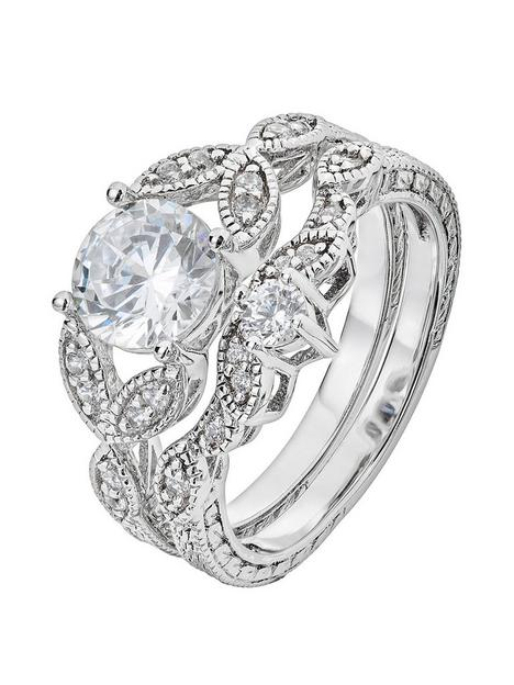 the-love-silver-collection-sterling-silver-amp-cubic-zirconia-vintage-style-leaf-ring-set