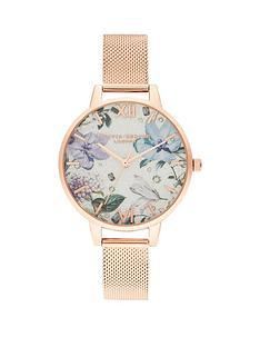 olivia-burton-olivia-burton-bejewelled-florals-silver-glitter-demi-dial-rose-gold-stainless-steel-mesh-strap-ladies-watch