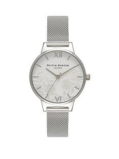 olivia-burton-olivia-burton-white-and-silver-lace-dial-stainless-steel-mesh-strap-ladies-watch