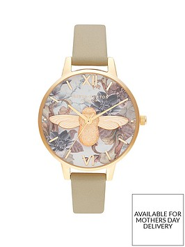 olivia-burton-olivia-burton-marble-florals-and-gold-3d-bee-demi-dial-sand-leather-strap-ladies-watch
