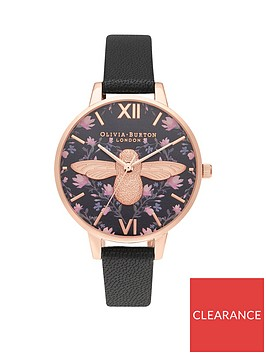 olivia-burton-olivia-burton-meant-to-bee-black-and-floral-heart-with-rose-gold-3d-bee-demi-dial-black-leather-strap-ladies-watch