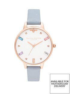 Olivia Burton Olivia Burton Rainbow Bee White Crystal Set and Rose Gold  Detail Demi Dial Chalk Blue Leather Strap Ladies Watch 6dd53a1819