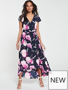 5b5570b63540 AX Paris Floral Dip Hem Dress - Navy