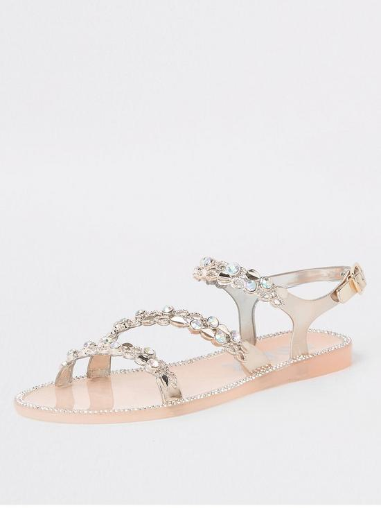 bb2c70b36049 River Island Girls diamante jelly sandals - gold