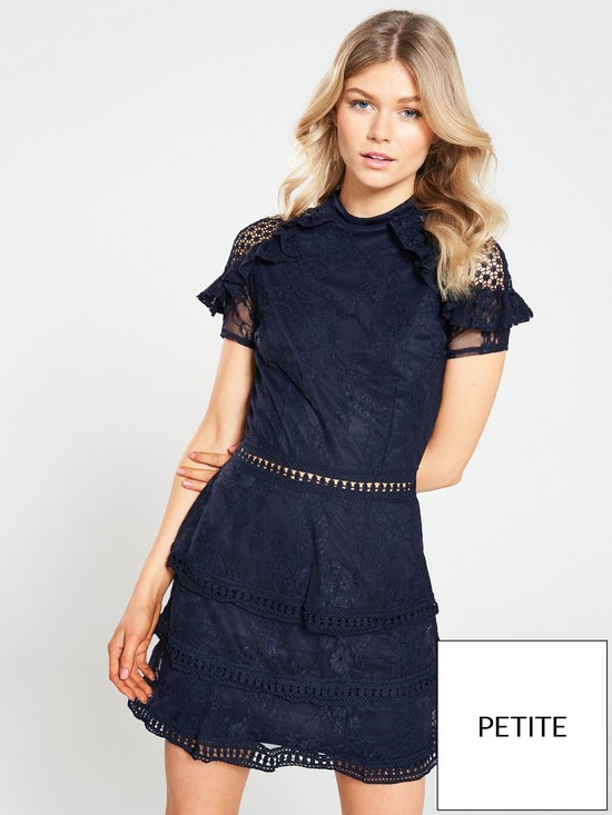 Ax Paris Petite Crochet Lace Tier Dress Navy Verycouk