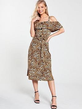 v-by-very-off-the-shoulder-midi-dress-animal-print