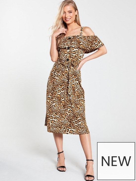 ce012242b5 V by Very Off The Shoulder Midi Dress - Animal Print