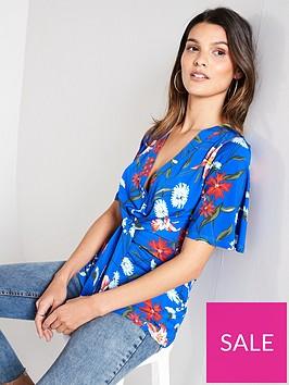 v-by-very-floral-v-neck-wrap-top-blue