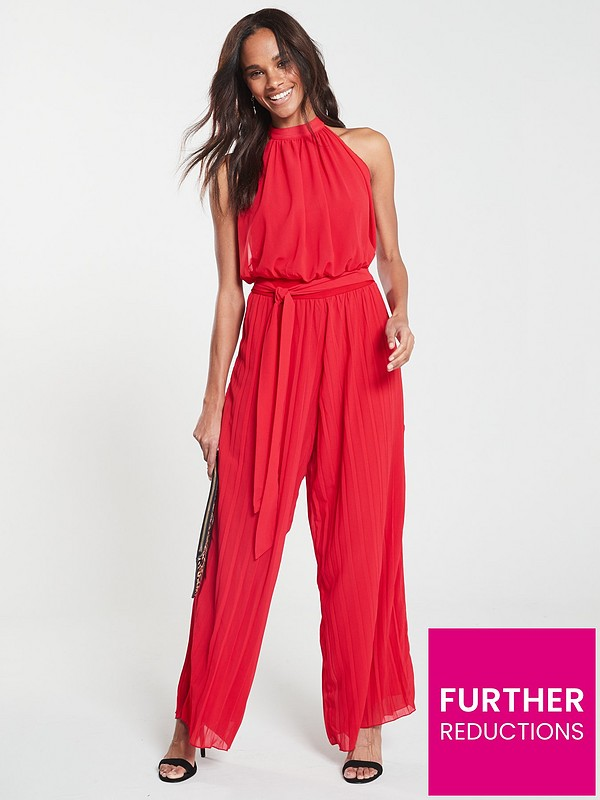 a9ad8aa436044 AX Paris Pleated Trouser Jumpsuit - Red   very.co.uk
