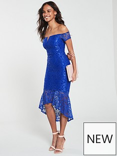 8c80179b7553 AX Paris Off Shoulder Dip Hem Lace Dress - Blue