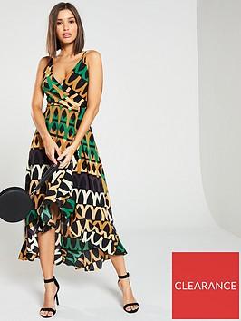 ax-paris-printed-wrap-dipped-hem-dress-green