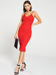 0bdb8b81a34 AX Paris Frill Hem Crochet Midi Dress - Red