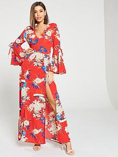 ax-paris-floral-fluted-sleeves-split-maxi-dress-multi