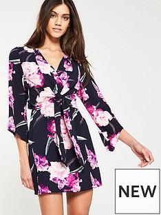015b4957520 AX Paris Knot Front Printed Dress - Navy