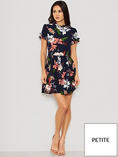 00f5c65d0b5 AX Paris Petite Floral Frill Skater Dress - Navy