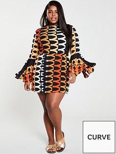 2e72576ce9a AX PARIS CURVE Bell Sleeve Geo Skater Dress - Orange