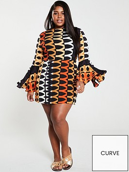 ax-paris-curve-bell-sleeve-geo-skater-dress-orange