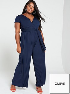 57a24fb3008 AX PARIS CURVE Pleated Leg Cap Sleeve Jumpsuit - Navy
