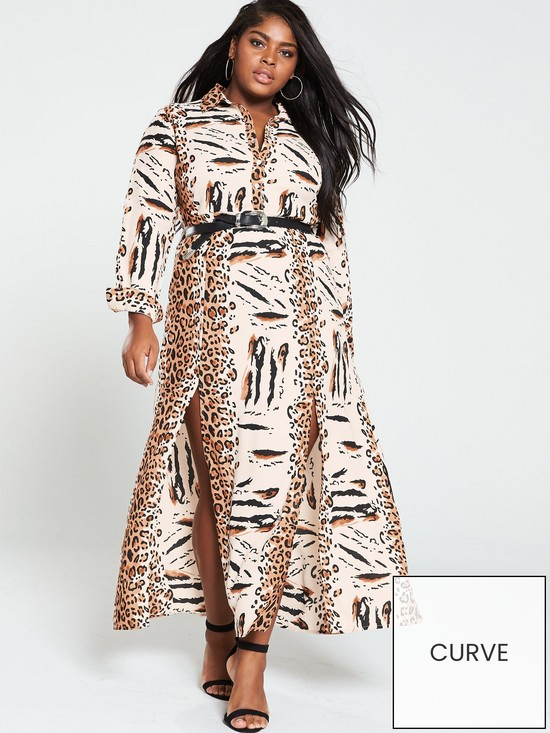 8225a92b33e4d AX PARIS CURVE Maxi Shirt Dress - Animal Print | very.co.uk