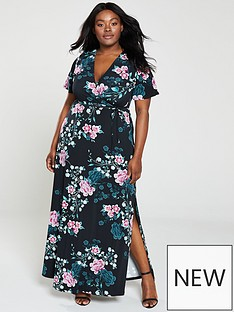 v-by-very-curve-printed-split-wrap-maxi-dress-floral