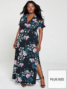 v-by-very-curve-printed-split-wrap-maxi-dress-floral
