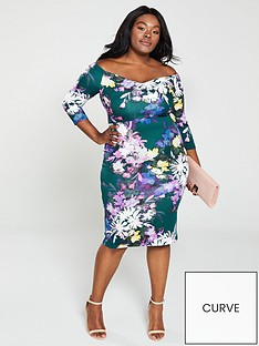 40e47e6e63 V by Very Curve Bardot Pencil Dress - Print