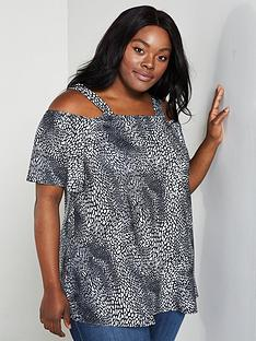 c531ea69dd49e4 V by Very Curve Printed Jersey Bardot Top - Black White