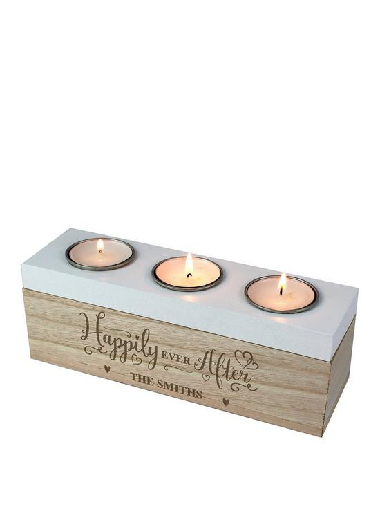 Personalised Happily Ever After Triple Tealight Holder