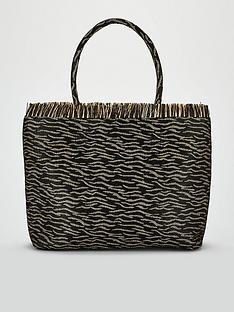 5562ada334aa5 V by Very Jessie Animal Print Weave Straw Tote Bag - Zebra Print