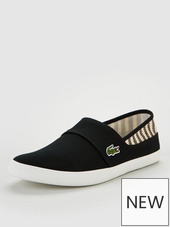 6cded0eec9 Lacoste Marice Canvas Slip On Shoes - Black | very.co.uk