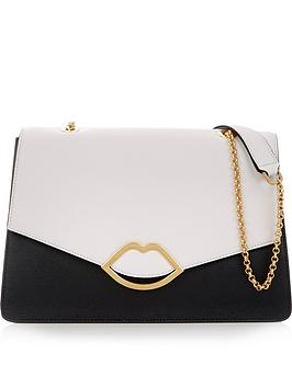 lulu-guinness-annabel-lip-detail-shoulder-bag-blackgrey