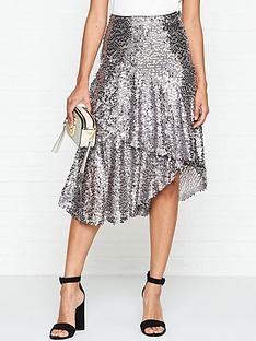gestuz-gloria-sequin-skirt-silver