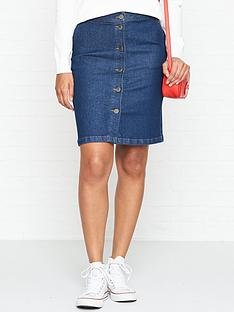 gestuz-tonja-button-through-denim-skirt-blue