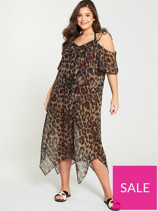 1ca961a6ff V by Very Curve Chiffon Beach Maxi Dress - Animal Print | very.co.uk