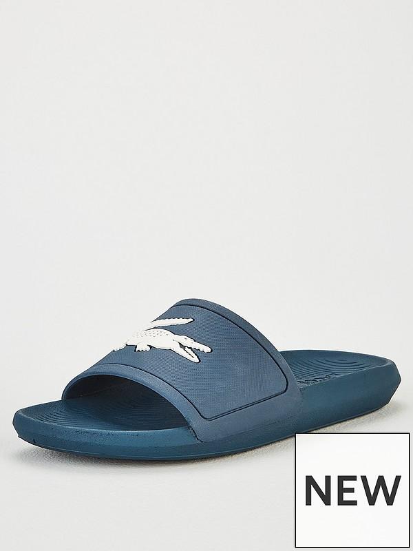 31020920e Lacoste Croco Sliders - Blue | very.co.uk