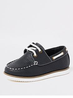 1697df56f80 River Island Mini Mini boys textured lace-up boat shoes - navy