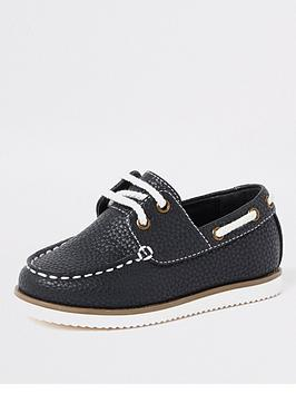 river-island-mini-mini-boys-textured-lace-up-boat-shoes-navy