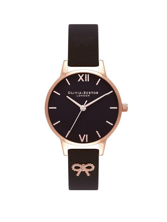 803c7d1c41c Olivia Burton Olivia Burton Vintage Bow Black and Rose Gold Dial Black  Leather Strap Ladies Watch