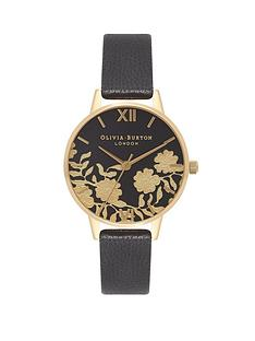 olivia-burton-olivia-burton-black-and-gold-lace-dial-black-leather-strap-ladies-watch