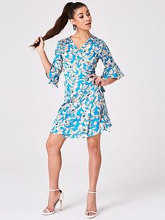 girls-on-film-frill-sleeve-wrap-dress--nbspturquoise-floral-print