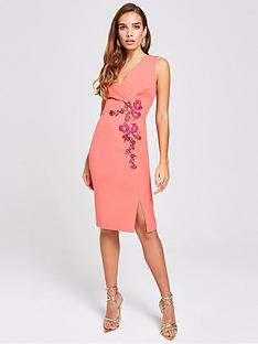 1e8a73d4e0f2 Little Mistress Embroidered Wrap Fitted Bodycon Dress - Grapefruit